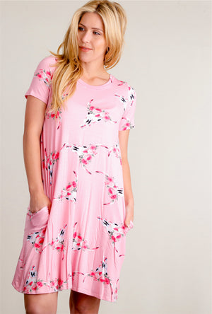 Pink Floral Bull Head Pocketed Dress