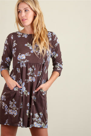 Charcoal & Blue Floral Pocketed Dress
