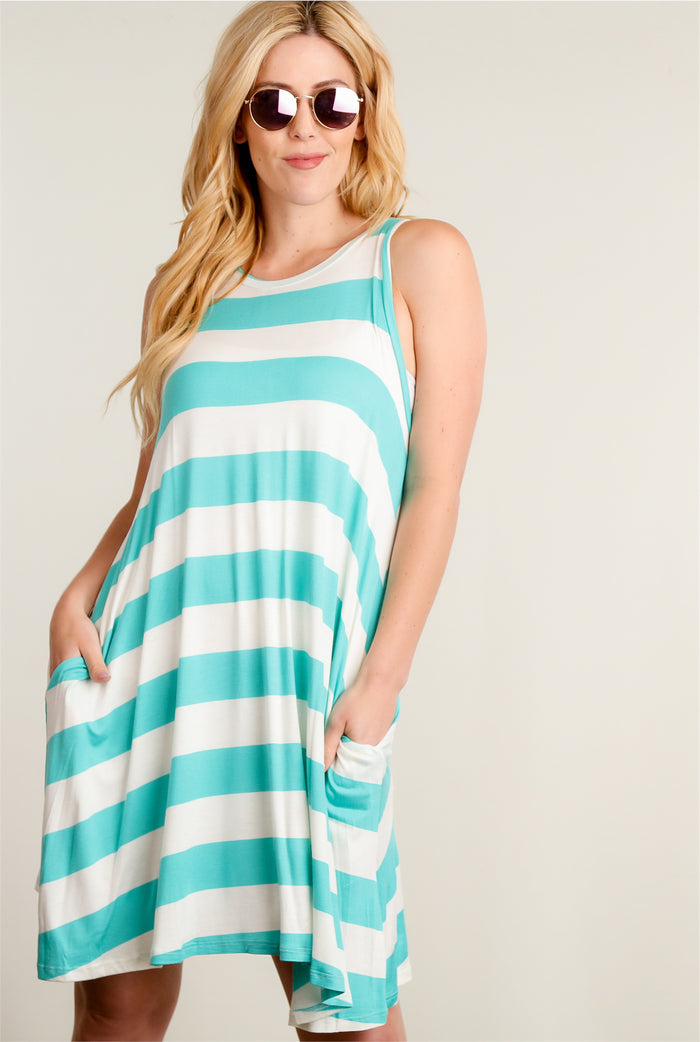 Mint Stripe Pocketed Dress