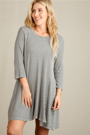 Charcoal Stripe Thermal Dress