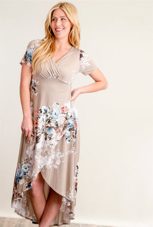 Taupe Floral Hi Lo Maxi Dress