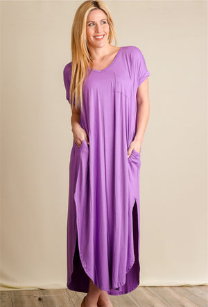Purple Pocketed Maxi Dress