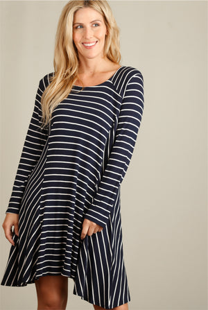 Navy Stripe Thermal Dress