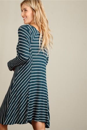 Teal Green Stripe Thermal Dress