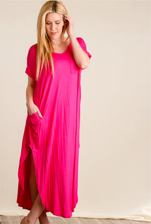 Fuchsia Pocketed Maxi Dress