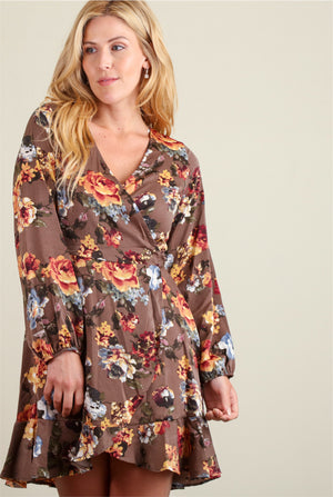 Brown Floral Wrap Dress