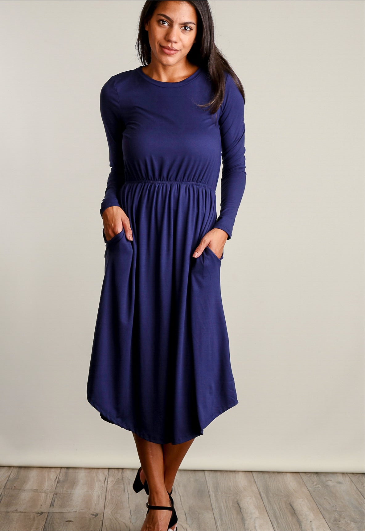 Navy Fit & Flare L/S Pocketed Dress