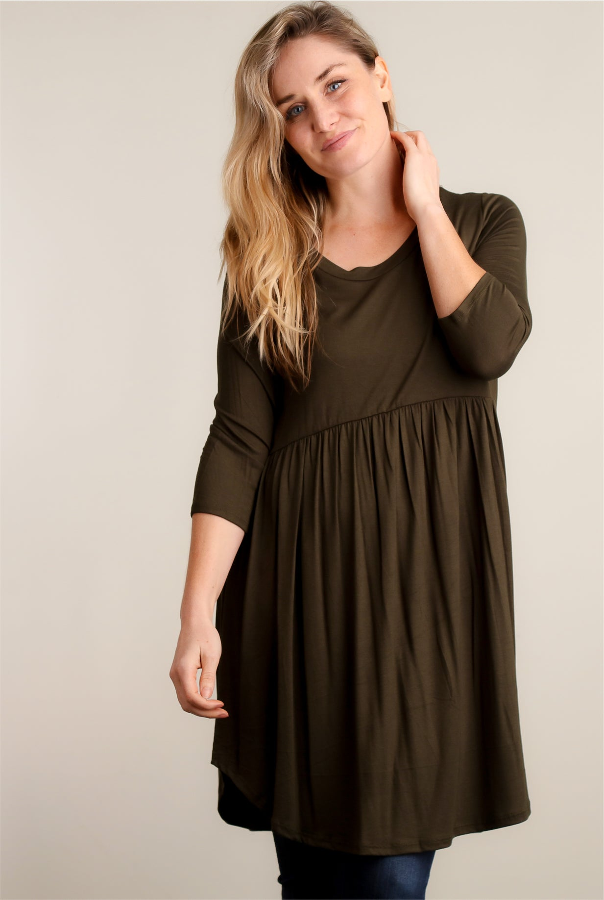 Olive Baby Doll Dress
