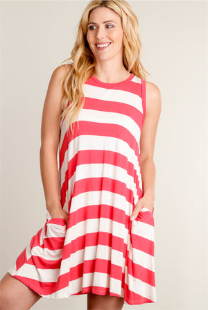 Coral Stripe Pocketed Dress