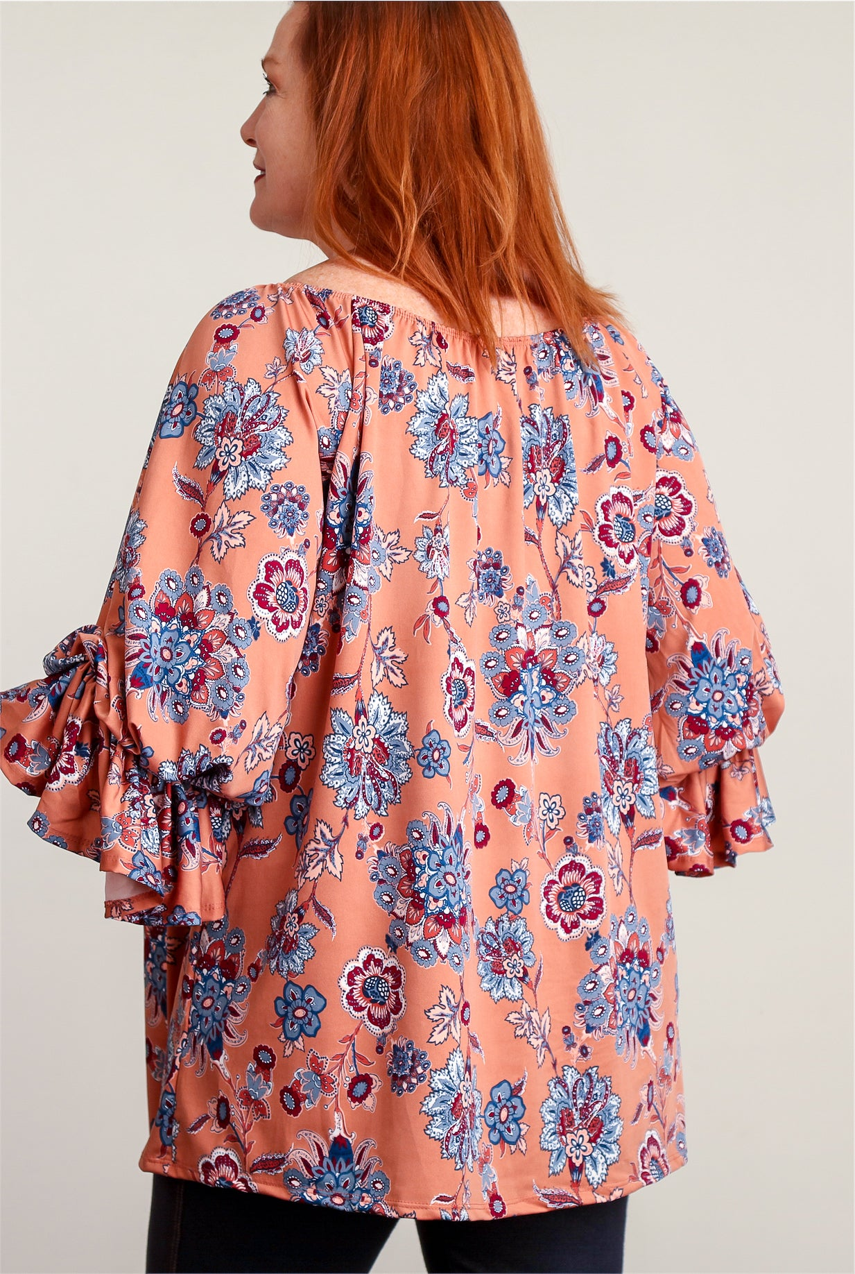 Plus Coral Printed Smock Neck Blouse
