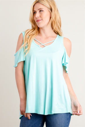 Mint Cold Shoulder Blouse