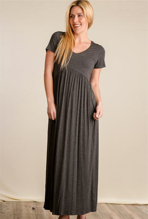 Charcoal Babydoll Maxi Dress