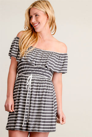 Charcoal & Ivory Stripe Tie Dress