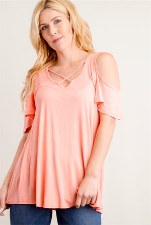Blush Cold Shoulder Blouse