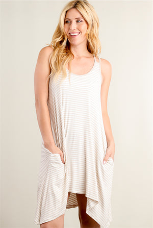 Taupe Stripe Pocketed Ribbed Dress