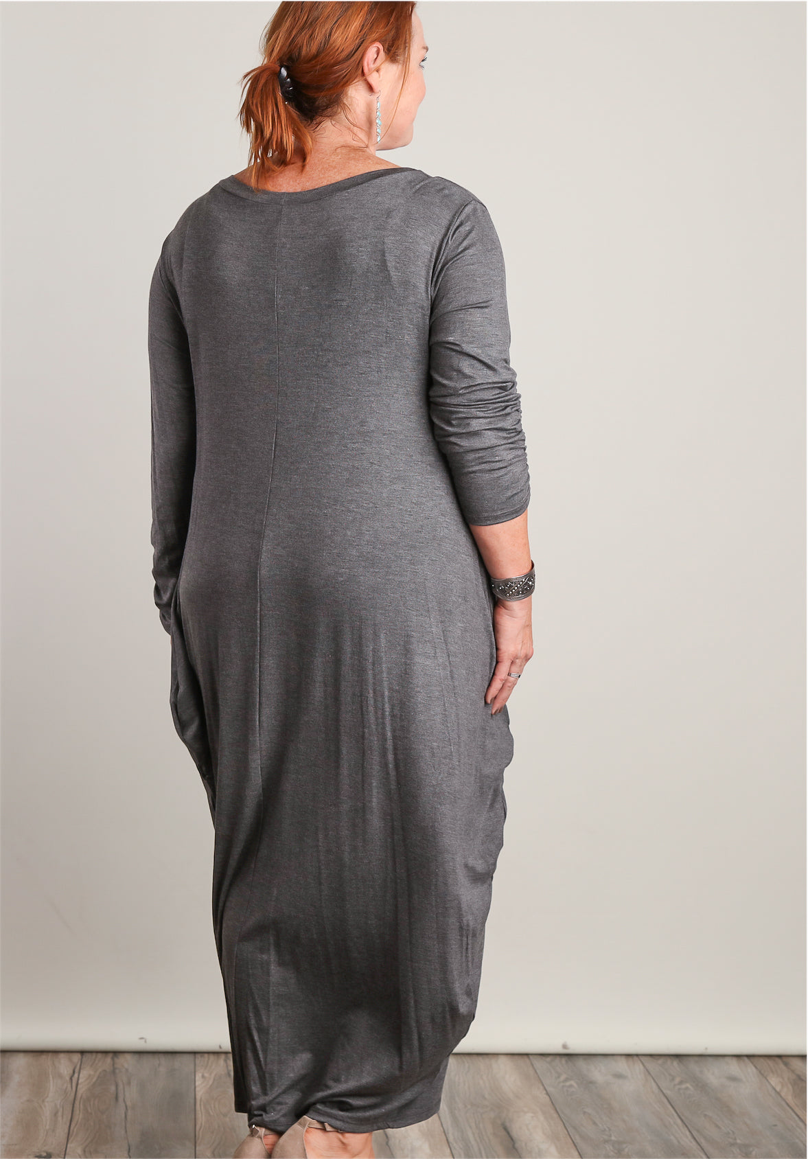 Plus Charcoal Synch Design Maxi Dress