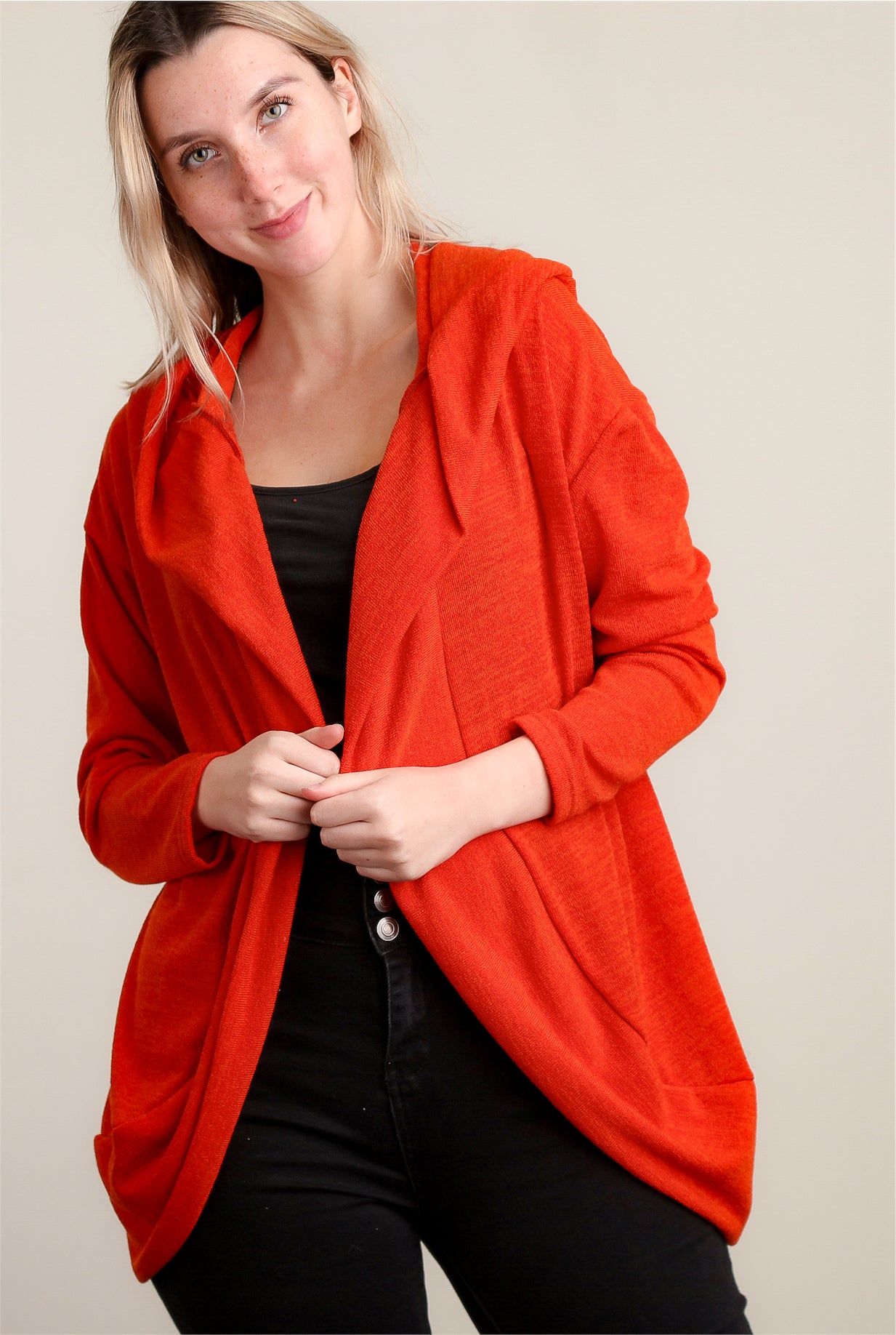 Orange Thick Hooded Cardigan
