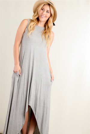 Grey Maxi Sleeveless Dress