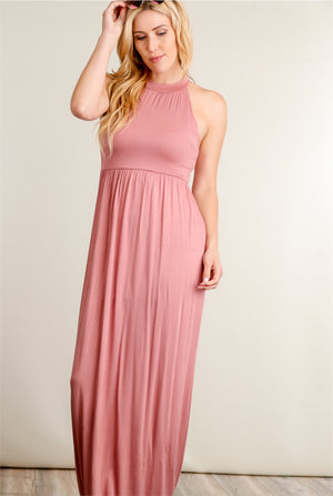 Mauve Halter Pocketed Maxi Dress
