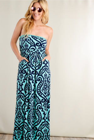 Mint & Navy Damask Strapless Maxi Dress