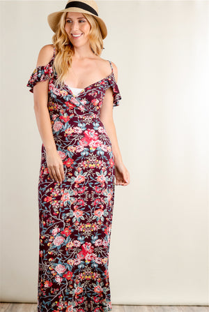 Burgundy Floral Flutter Cold Shoulder Maxi Dress