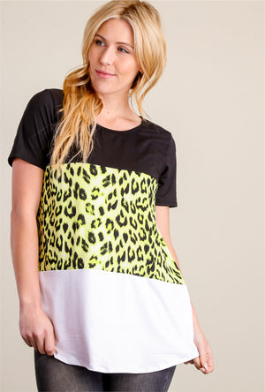 Neon Green, Black & Ivory Animal Colorblock Blouse