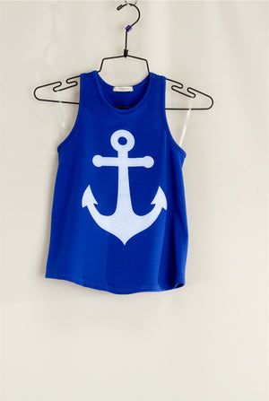 KIDS Royal Blue Anchor Top