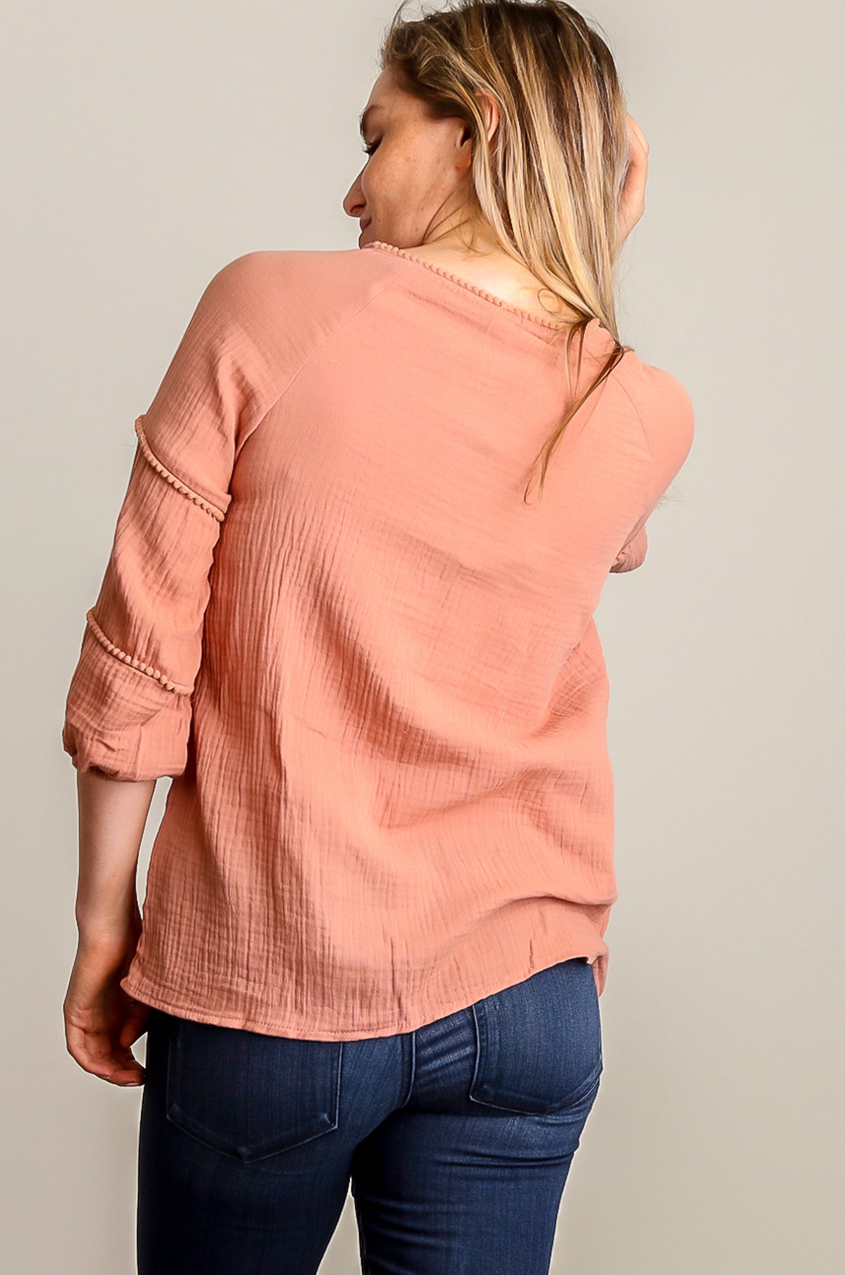 Peach Embellished Henley Blouse