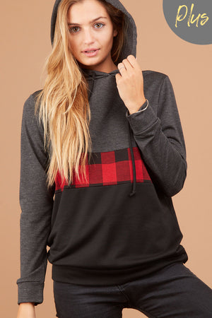 Red Plaid Colorblock Hoodie