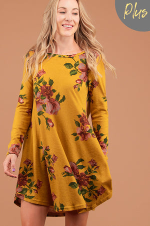 Plus Mustard Floral Printed Dress