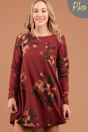 Plus Burgundy Floral Printed Dress