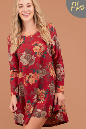 Plus Red Floral French Terry Dress