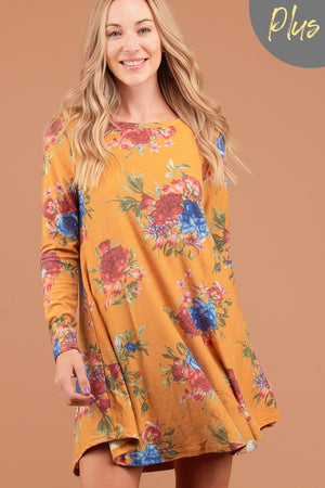 Plus Mustard Floral French Terry Dress
