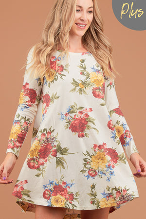 Plus Ivory Floral French Terry Dress
