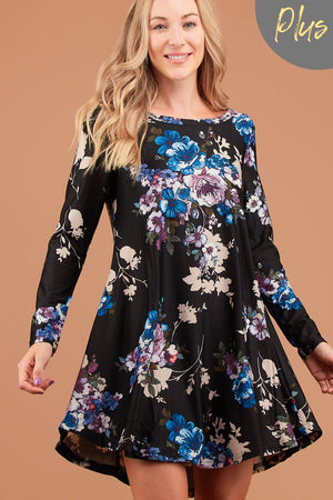 Plus Black Floral French Terry Dress