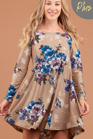 Plus Taupe Floral French Terry Dress