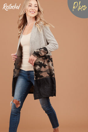 PLUS Grey Camo Colorblock Cardigan