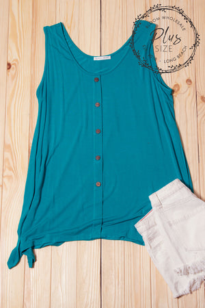 Plus Teal Button Top