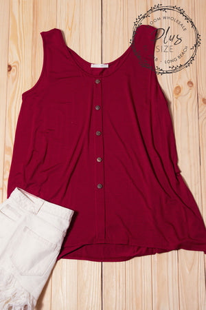 Plus Burgundy Button Top