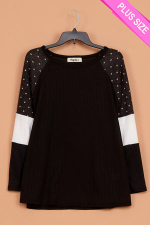 Plus Thermal Polkadot Color Block Blouse