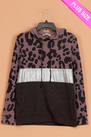 Plus Animal Sequins Color Block Hoodie