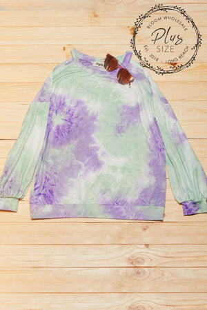 Plus Mint & Lilac Tie Dye Cold Shoulder Blouse
