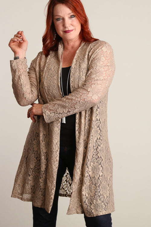 Plus Taupe Crochet Cardigan