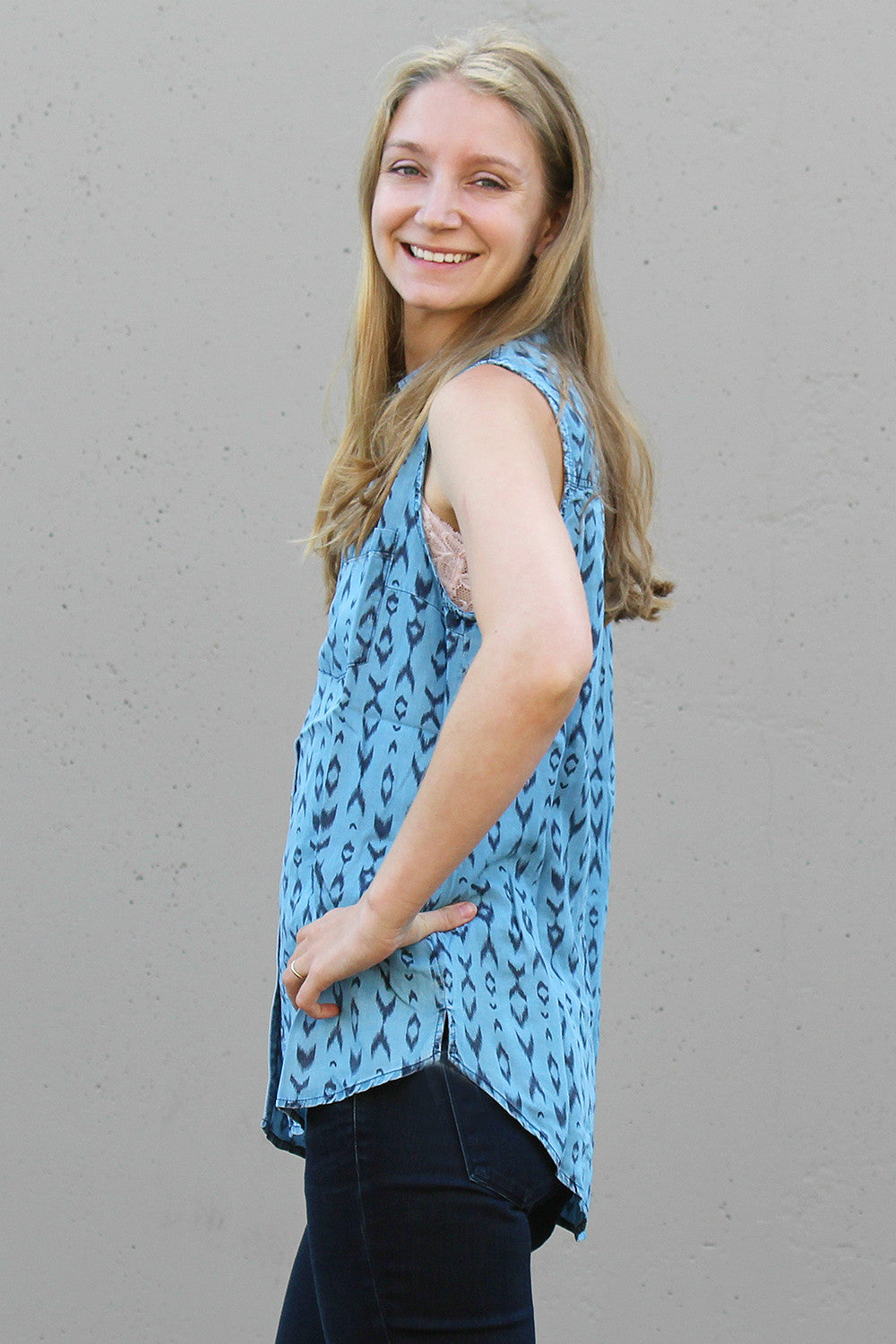 Denim Printed Button Down Top
