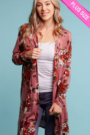 Plus Mauve Floral Elbow Patch Cardigan