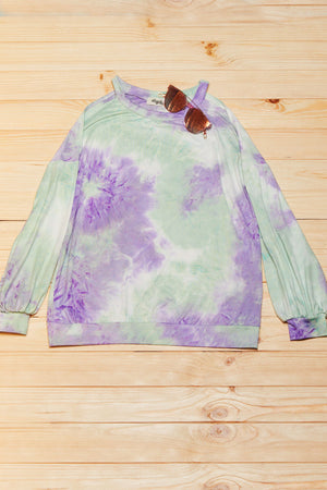 Mint & Lilac Tie Dye Cold Shoulder Blouse