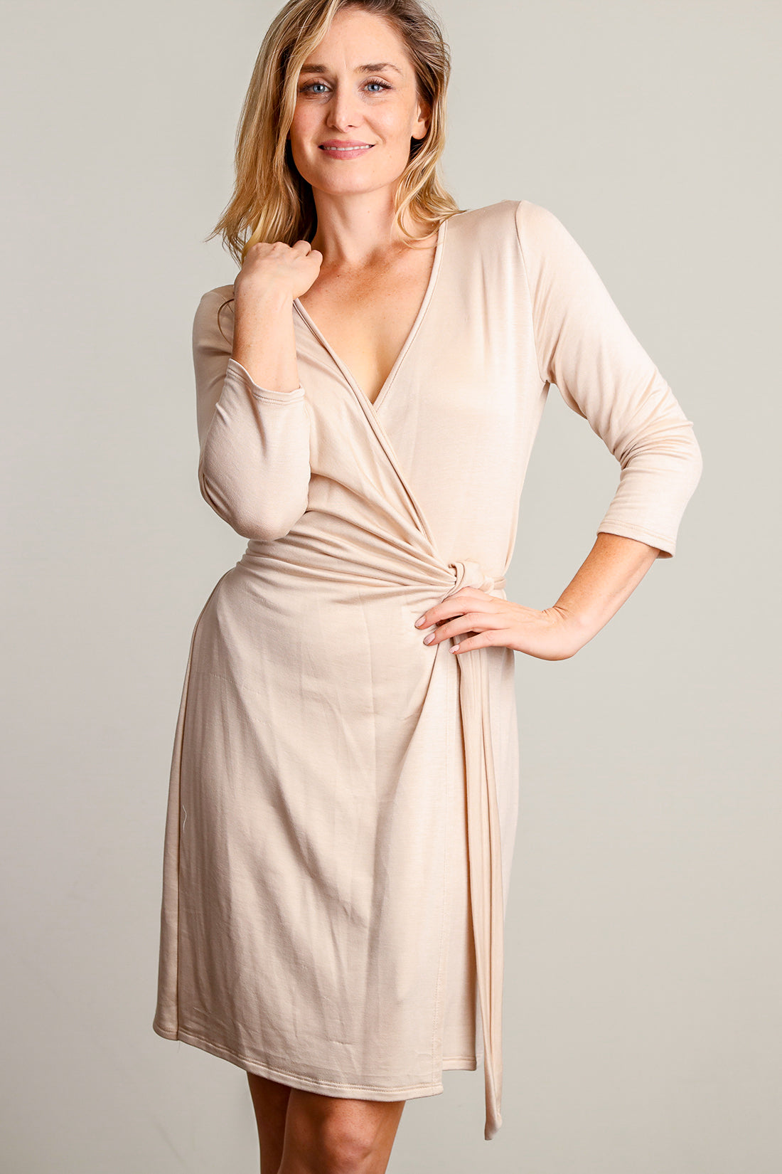 Taupe Wrap Dress