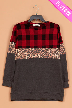 Plus Plaid Animal Color Block Long Sweater