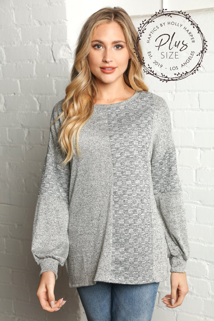 Plus Heather Grey Two Tone Hacci Brushed Jacquard Sweater
