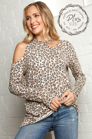 Plus Taupe Animal Print Cold Shoulder Blouse